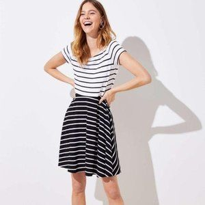 LOFT Fit and Flare Black and White Striped Dress S